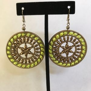 Neon and Gold earrings